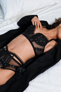 Milana Ricci Revealing Her Sexy Black Lingerie
