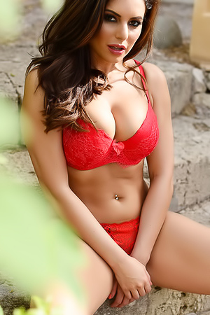 Charlotte Springer In Sexy Red Lingerie