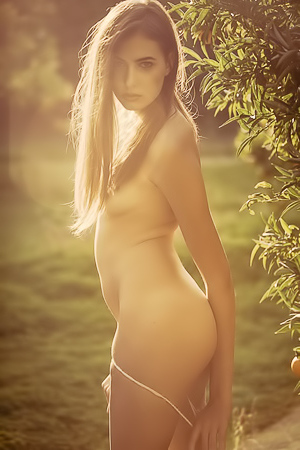 Skinny Katrine Pirs Strips And Poses In The Garden