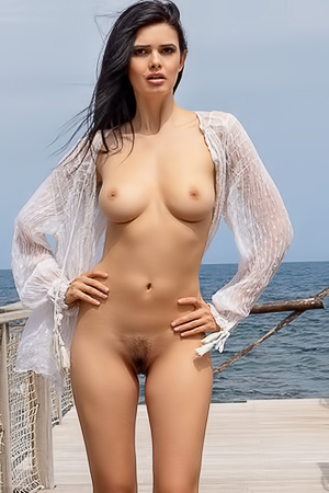 Clio Strips Outdoors With Nice Boobies