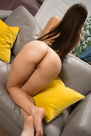 Erotic Angelina Socho Strips Naked On Sofa