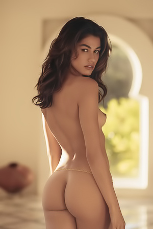 Sexy Lorena Medina explores a mansion in the nude