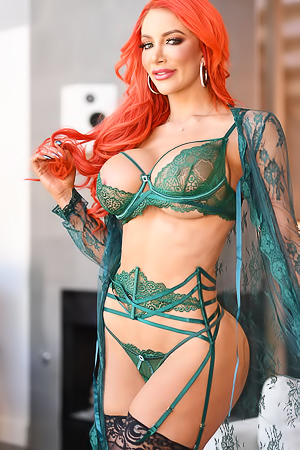 Redhead Nicolette Shea In Sexy Green Lingerie