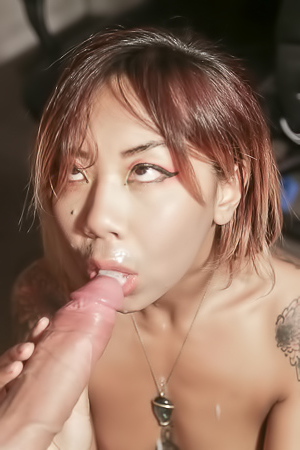 Kimberly Chi Slides Up And Down Thick Pole